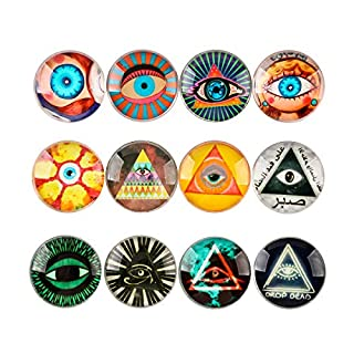 12pcs Glass Refrigerator Magnets, Pretty Fridge Magnets For Office Cabinets Whiteboards, Perfect Decorative Magnets For Home (Eye)