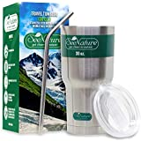 Stainless Steel Tumbler, Lid & Straw Set by SeeNature - 30 oz, Double Walled, Vacuum Insulated - For Coffee, Tea, Travel & Home