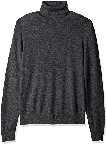 100% Premium Cashmere Turtleneck Sweater, Dark Grey, Medium ()