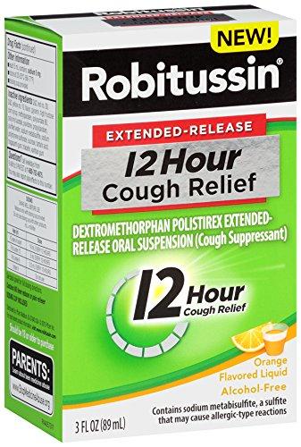 Robitussin Extended Release 12 Hour Cough Suppressant  Orange Flavor Liquid  3 Fl  Oz  Bottle
