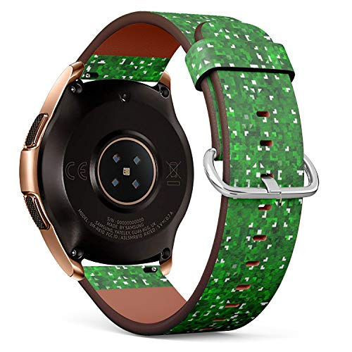 Compatible with Samsung Galaxy Watch (42mm) - Quick-Release Leather Band Bracelet Strap Wristband Replacement - Bright Mosaic Green