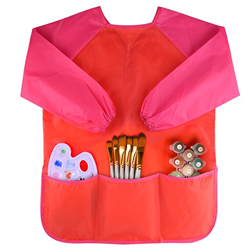 Kuuqa Childrens Kids Toddler Red Waterproof Play Apron Smock with 3 Roomy Pockets - Painting, Baking, Cooking, Smock - Age 2-4 years (Paints and Brushes not included)