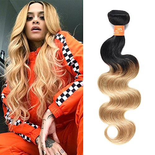 (Mothers' Day Gifts 2 Tone Ombre Hair One Bundles Peruvian Virgin Hair Body Weft Human Hair Extensions 1b/27 Medium Ombre Blonde 20inch)