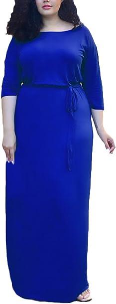 Sommerkleider Damen Fur Mollige Elegante Lang Maxikleider 3 4 Armel Rundhals Einfarbig Elegante Classic Fashion Beilaufiges Strandkleid Kleider Grosse Grossen Kleidung Amazon De Bekleidung