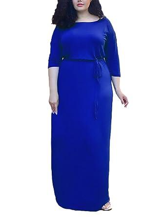 Damen Sommerkleider Für Mollige Elegante Lang Maxikleider 3 4 Ärmel Cute  Chic Rundhals Einfarbig Elegante Fashion Beiläufiges Strandkleid Kleider  Große ... 24889857cc