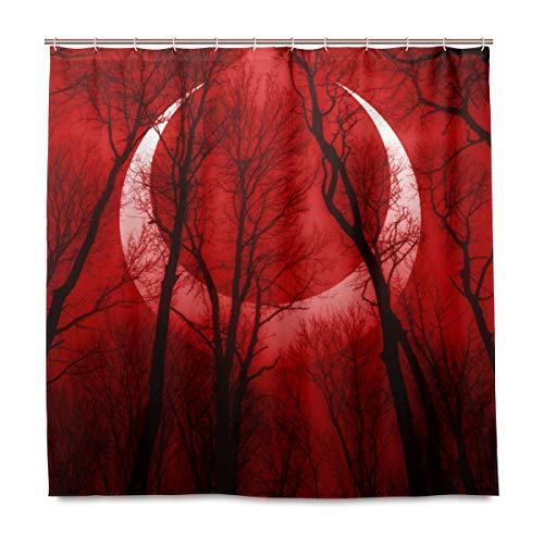 (MIGAGA Decoration Shower Curtain Shower Dark Scary Forest Scene Surreal Eclipse Bath Curtains Waterproof Fabric Bathroom Decor Set with Hooks 48X72inch)