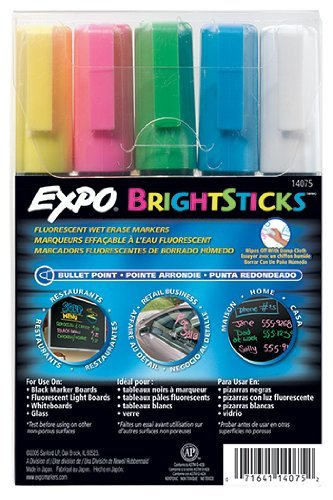 Sanford Wet Bright Sticks Wet-Erase Fluorescent Markers, Assorted Fluorescent Colors, 5-Pack (14075) Case of 36 sets by Expo