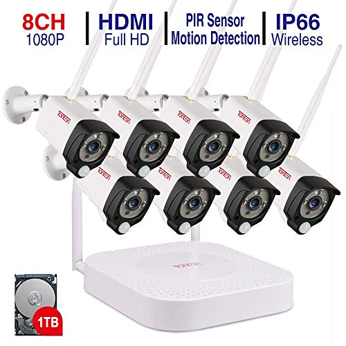 Tonton 1080P Full HD Wireless Security Camera System, 8CH NVR Recorder with 1TB HDD and 8PCS 1080P 2.0 MP Waterproof Outdoor Indoor Bullet Cameras with PIR Sensor, Audio Record and Clear Night Vision