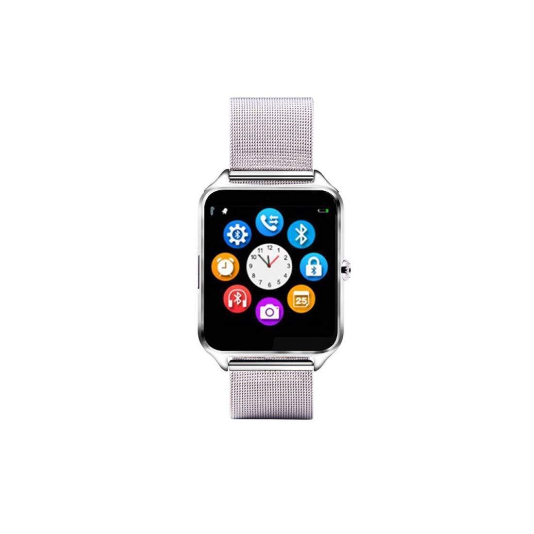 Hexiansheng Fitness Tracker Smart Watch Metal Steel with Card Call Phone Smart wear (Color : Silver)