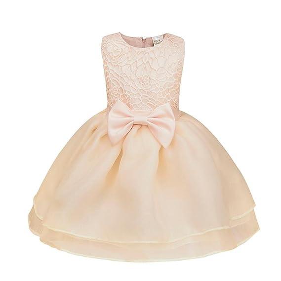 QUICKLYLY Vestidos Cortos Bautizo Bebé Niñas Princesa Para Bodas Gasas Princesa Tutu Traje (Beige,