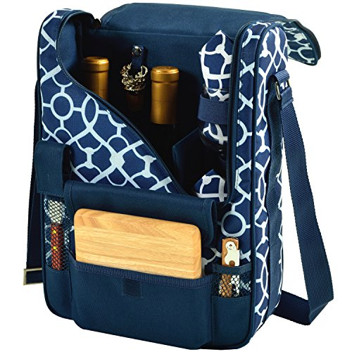 Picnic at Ascot - Wine Carrier Deluxe with Glass Wine Glasses and Accessories for Two, Trellis (Holiday Wine Basket)