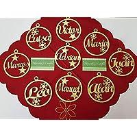 Esferas con nombre para árbol de navidad, set 10 piezas, esferas MDF corte láser