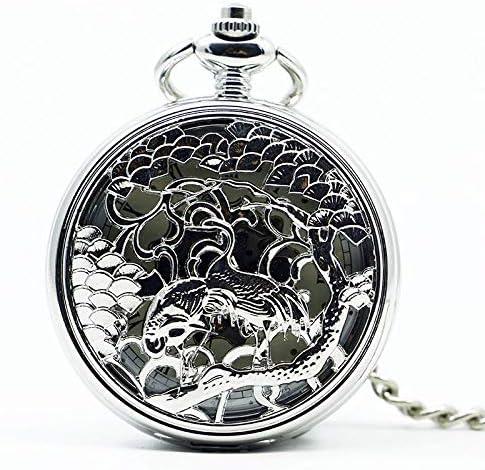 懐中時計、スムースメカニカルフルゴールドカラーメンズレディーススタイリッシュレトロFOBハンドウィンドダブルハンター