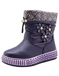 Apakowa Toddler Girl's Mixed Wool Lining Winter Floral Snow Boots