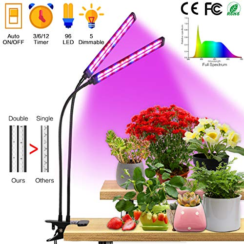 Grow Light Plant Lights for Indoor Plants 50W 96 LED Timing Grow Lamp Auto On Off with 3 6 12H Timer 5 Dimmable Levels 3 Switch Modes Full Spectrum, Clip-On Desk Dual Head Adjustable Gooseneck