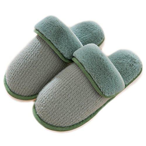 Auspicious beginning Unisex Winter Warm Plush Fleece Cozy Non-slip Indoor Couple House Shoes Bedroom Slippers Green