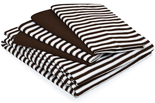 (Cosy House Collection Striped Bed Sheets - Super Soft Luxury Hotel Deep Pocket Bedding Fits Pillowtop - Stain, Fade & Wrinkle Resistant - 6 Piece Set - Fitted, Flat, 4 Pillowcases (King, Chocolate))