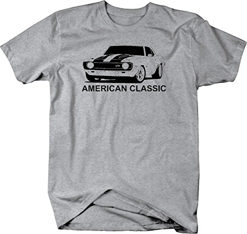 (American Classic Chevy Camaro Z28 Hotrod Muscle Car Tshirt - Large Heather Grey )