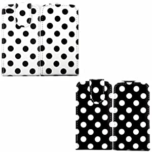 2 Pack Polka Voltear Concha Caso Cubrir Para Apple iPhone 4 4S / White Polka Dots Spots Black And Black Polka Dots Spots White