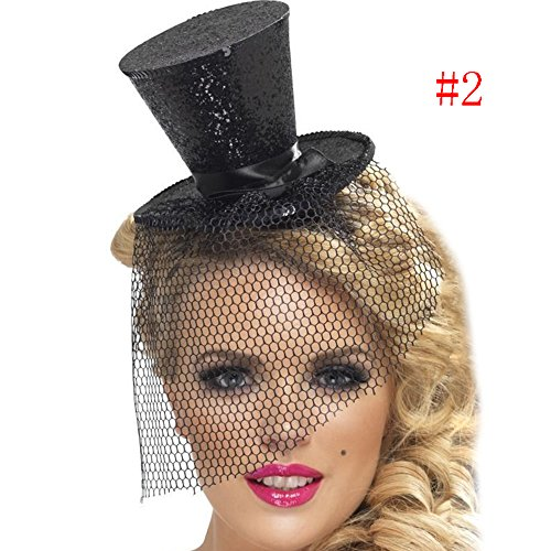 Binglinghua Mini Glitter Top Hat Headband Veil Ladies Burlesque Hen Night Party Fancy Dress (black) ()