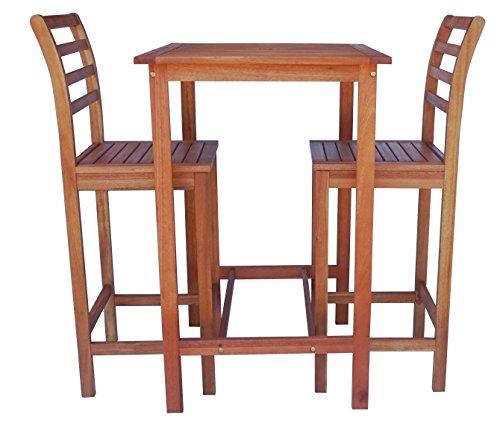 Eucalyptus Bar Chair - Zen Garden ZG014 Eucalyptus 3-Piece Bar Set with Bar Table and 2 Bar Chairs, Natural Wood Finish