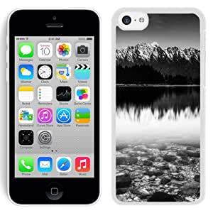 Beautiful Designed Antiskid Cover Case For iPhone 5C Phone Case With Black And White Snow Mountain Lake_White Phone Case