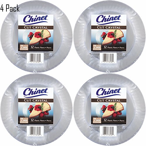 Crystal Party Plastic Cut (Chinet Cut Crystal Clear Plastic 7 inch Plates (128))