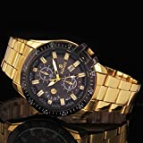 Luxury Mens Black Dial Gold Stainless Steel Date Quartz Analog Sport Wrist Watch, Fashion Lovely And High Quality Sports Watch!