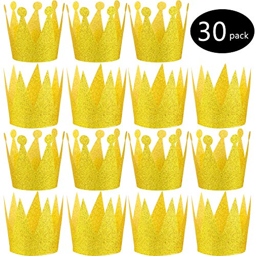 30 Pieces Paper Gold Crown with Elastic Ties