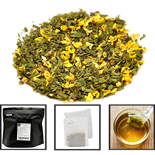 Cha Wu-Osmanthus LongJing Green Tea Bags,50 Tea Bags,Natural Flower and Broken -