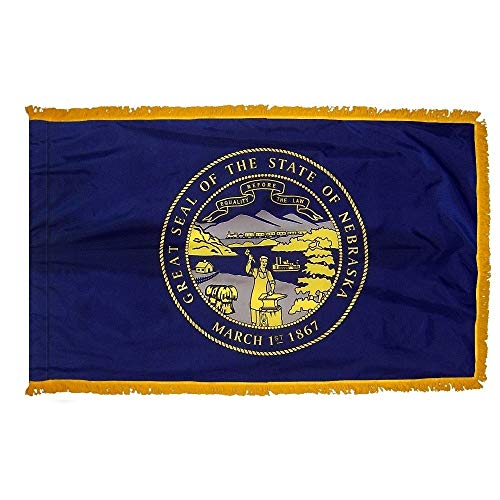 - Nebraska State Flag with Gold Fringe; Perfect for Presentations, Parades, and Indoor Display; an Elegant Ceremonial Flag; 100% Made in The USA (3'x5')