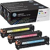 HP 312A Pack de 3 Toners Cyan/Magenta/Jaune Authentiques (CF440AM)