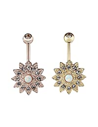Vcmart Blooming Daisy Opal Belly Button Rings Surgical Steel 14G Barbell Body Jewelry