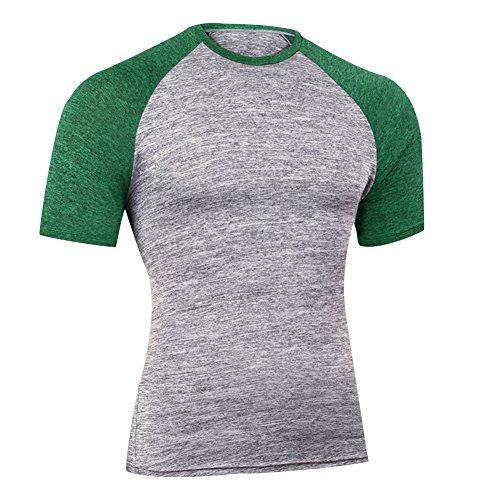 残酷なパスポートオッズAmazingベーシック 半袖 切り替え色 コンプレッションウェア 加圧シャツ スポーツインナー  吸汗速乾 抜群の伸縮性 カジュアル シャツ
