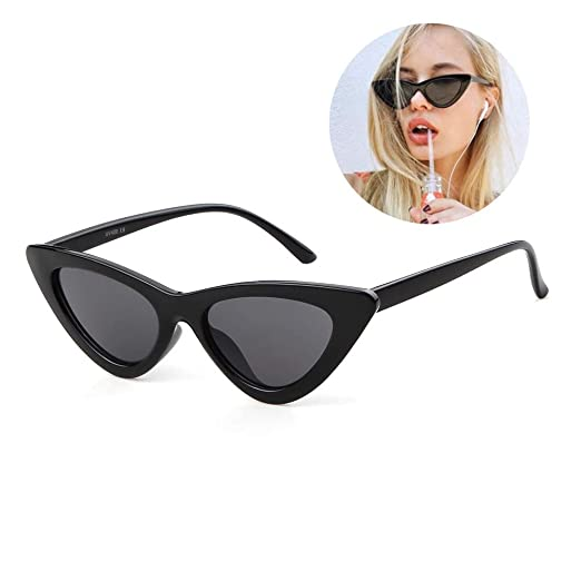 1bff43b5836 Cat Eye Sunglasses for Women Narrow Vintage Cateye Sun Glasses Plastic  Frame Black
