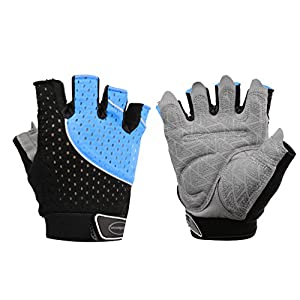 Tourdarson Weight Lifting Gloves for Women & Men, Anti-Slip Silica Gel Grip Padded Workout Gloves for Weightlifting, Cross Training, Gym, Fitness, Bodybuilding (Blue&Black, Small)