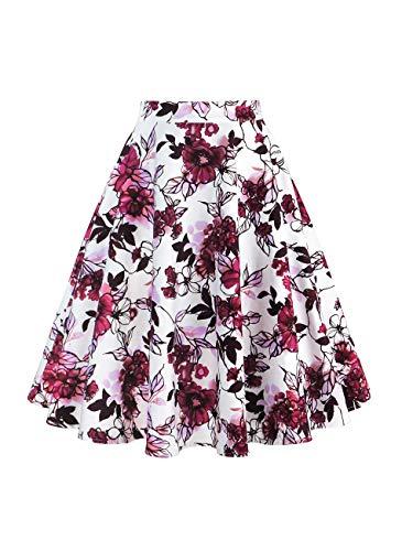 Yanmei Women Vintage Retro Floral Print A-Line Skirts Purple White XX-Large 1086-18
