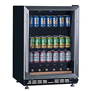 "Lanbo 24"" Wide Built-In Beverage Wine Refrigerator,Stainless Steel Compressor Fan Cooling Beverage Cooler with [Triple-Layers Tinted Glass Door ] and Temperature Memory Function"