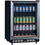 """Lanbo 24"""" Wide Built-In Beverage Wine Refrigerator,Stainless Steel Compressor Fan Cooling Beverage Cooler with [Triple-Layers Tinted Glass Door ] and Temperature Memory Function"""