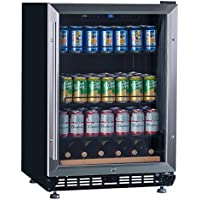 Lanbo 24' Wide Built-In Beverage Wine Refrigerator,Stainless Steel Compressor Fan Cooling Beverage Cooler with [Triple-Layers Tinted Glass Door ] and Temperature Memory Function