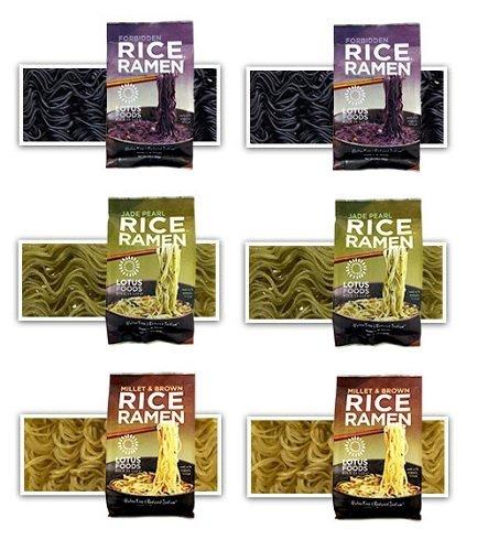 Lotus Foods -Gluten Free Rice Ramen Variety Pouch 6 Pack - [Forbidden Rice, Jade Pearl Rice , Millet & Brown Rice ]