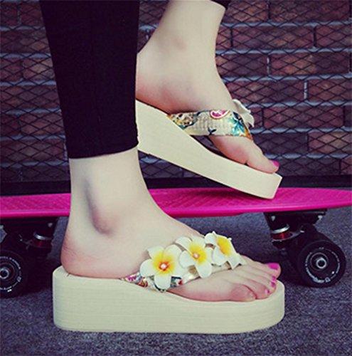Simple pendiente con la palabra zapatillas deslizadores de fondo grueso zapatillas zapatos de playa de señoras 5