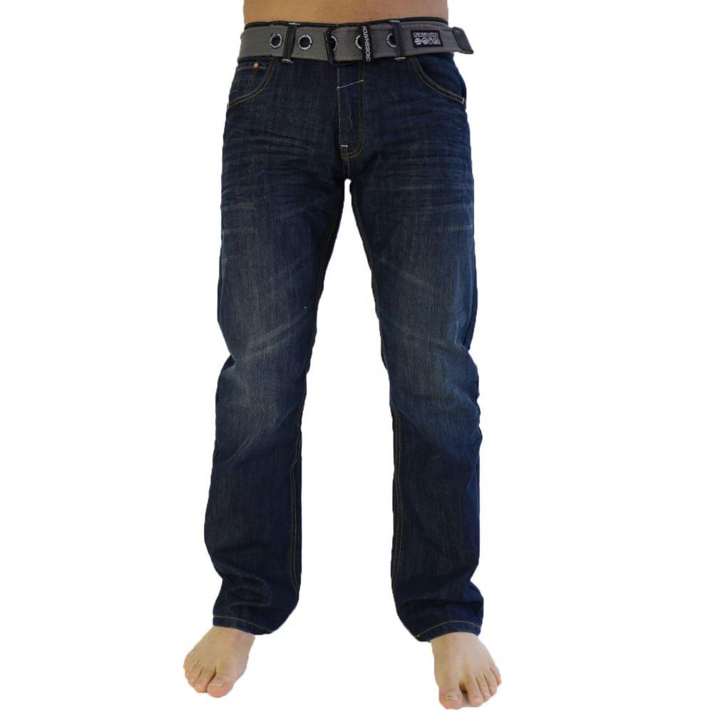 Crosshatch Mens Designer Straight Leg Denim Jeans & Belt Regular To King Sizes CH107201DW