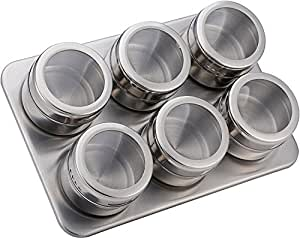 Magnetic Containers Spice Tin Rack with Stand, Marsoul Stainless Steel Magnetic spice cans Perfect Kitchen Storage Spice Jars 6 Piece Set