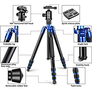 Neewer Aluminum Alloy 65 inches/165 centimeters Tripod Monopod with 360 Degree Ball Head,1/4 inches Quick Release Plate, Carrying Bag for DSLR Camera, Camcorder, Up to 33 pounds/15 kilograms(Blue)