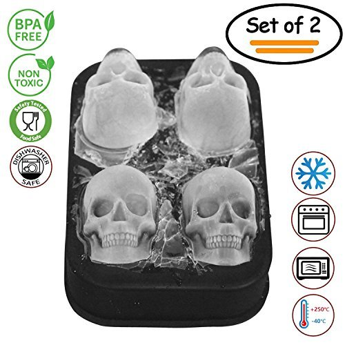 2 Pack 3D Silicone Skull Mold Ice Cube Mold, Onidoor Creative Candy Sugar Chocolate Mold Maker, Bar Whisky Cocktails Ice Make for Parties, Black