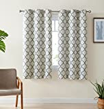 63 inch curtains 2 panel - HLC.ME Lattice Print Thermal Insulated Room Darkening Blackout Window Curtain Panels for Bedroom - Set of 2 - 37