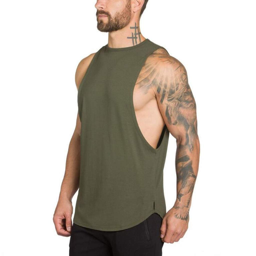 Men's Tank Tops,Sunyastor Summer Gyms Bodybuilding Fitness Muscle Tshirts Sleeveless Singlet Workout Top Vest Tank Army Green