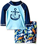 Flap Happy Baby UPF 50+ Graphic Rash Guard And Infant Swim Diaper Trunk Set, Salty Shark/Shark Reef, 12 Months
