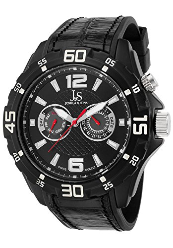 Joshua & Sons Js79bk Men's Multi-Function Black Rubber And Genuine Leather Black Base Metal Watch